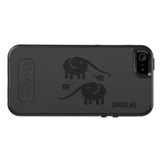 Black Leather Look And Elephant Illustration OtterBox iPhone 5/5s/SE Case