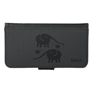 Black Leather Look Elephant Illustration Samsung Galaxy S6 Wallet Case