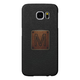 Black Leather Look Monogram Samsung Galaxy S6 Cases
