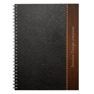 Black leather look spiral notebook