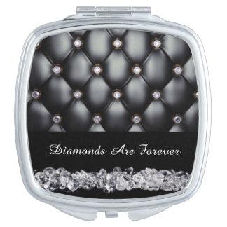 Black Leather Look White Diamonds Travel Mirror