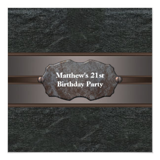"""Black Leather Metal Mans 21st Birthday Party 5.25"""" Square Invitation Card"""
