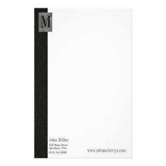 Black Leather Monogram Business Letterhead