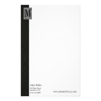 Black Leather Monogram Business Letterhead Personalised Stationery