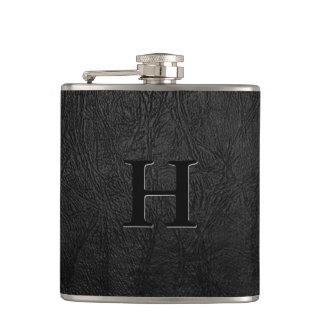 Black Leather Monogram Hip Flask