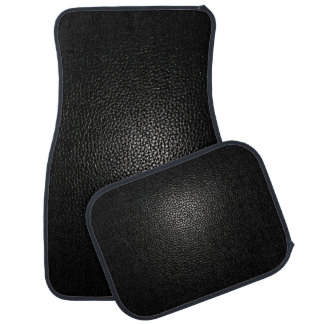 Black Leather on Black Car Mat