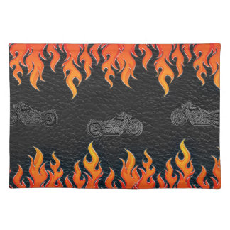 Black Leather Orange Flames Hot Fire Motorcycle Placemat