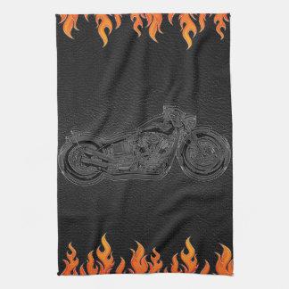 Black Leather Orange Flames Hot Fire Motorcycle Tea Towel