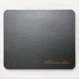 Black Leather Pattern- Custom Monogram Mouse Pad