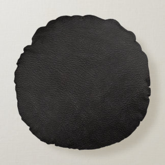 Black Leather Print Texture Pattern Round Cushion