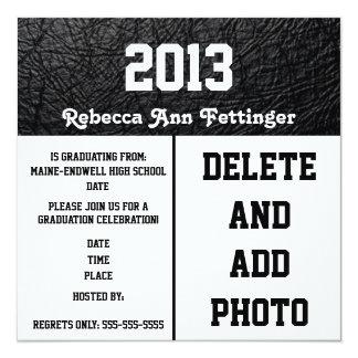 Black leather texture Graduation Invitations