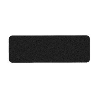 Black Leather Textured Return Address Label