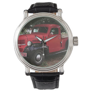 Black Leather Watch - Red Truck