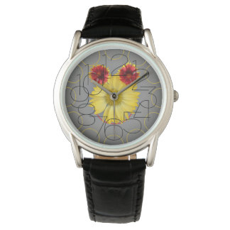 Black leather watch with flower face
