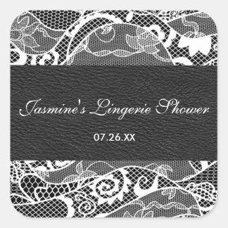 Black leather & White lace square sticker label