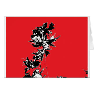 Black Leaves on Red Background Card
