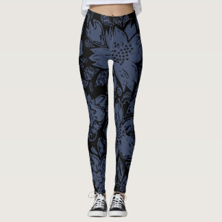 Black Legging with Blue Artisanal Seal