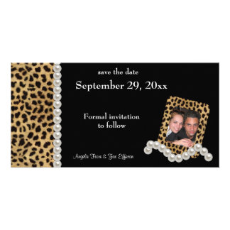 Black Leopard And White Pearls Save The Date Photo Cards