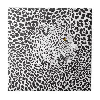 Black Leopard In Spots Ceramic Tile