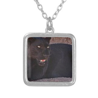 Black Leopard Silver Plated Necklace