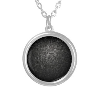 black lether imitation silver plated necklace