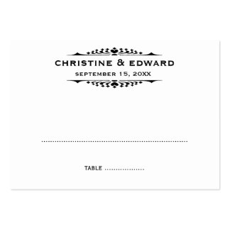Black letter bold wedding escort seating place pack of chubby business cards