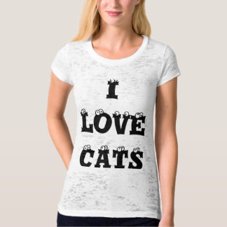Black letters I Love Cats t-shirt