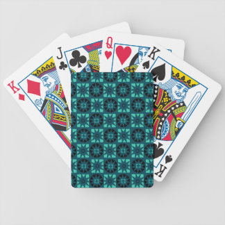 Black Light Blue Aztec Geometric Floral Print Bicycle Playing Cards