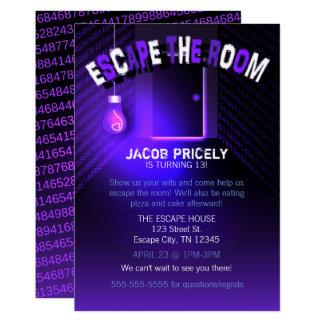Black Light Escape the Room Invitation
