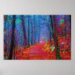 Black Light Forest Oil Painting Poster