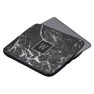 Black & Light Gray Marble Stone Texture Laptop Sleeve