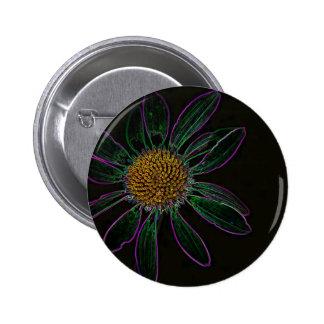 Black Light Neon Flower Power Pin