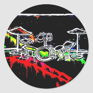 Black Light/Neon Splash Drum Set by Levi G. Classic Round Sticker