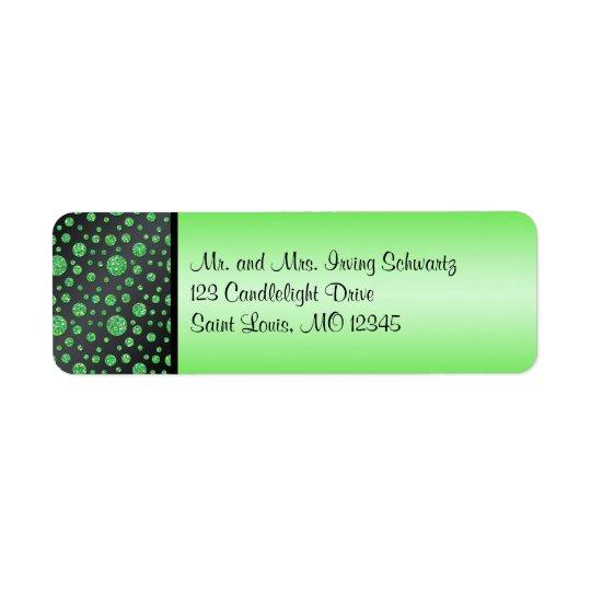 Black, Lime Glittery Dots Return Address Label