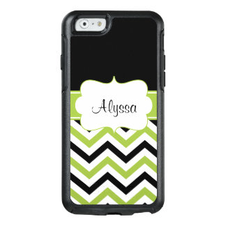 Black Lime Green Chevron Personalized OtterBox iPhone 6/6s Case