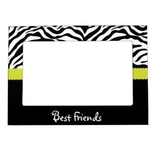 Black & Lime Zebra Stripe Best Friends Magnetic Picture Frame