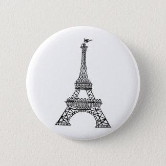 Black Line Eiffel Tower 6 Cm Round Badge