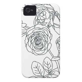 Black lined Rose Bouquet Case-Mate iPhone 4 Cases