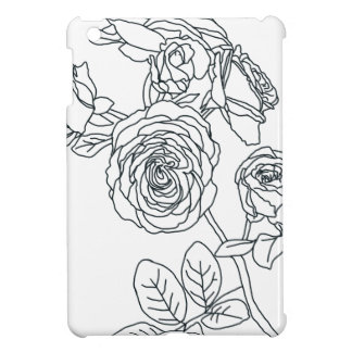Black lined Rose Bouquet iPad Mini Cover