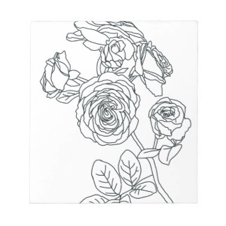 Black lined Rose Bouquet Notepad