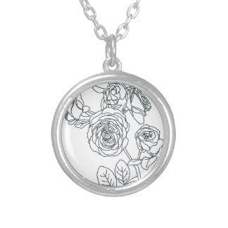 Black lined Rose Bouquet Silver Plated Necklace