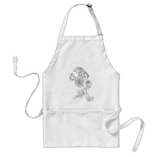 Black lined Rose Bouquet Standard Apron