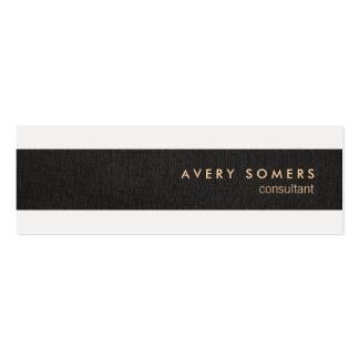 Black Linen Look Simple Modern Stripe Professional Pack Of Skinny Business Cards