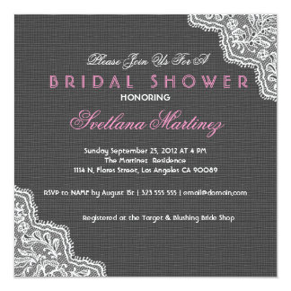 Black Linen & White Lace Bridal Shower Invite