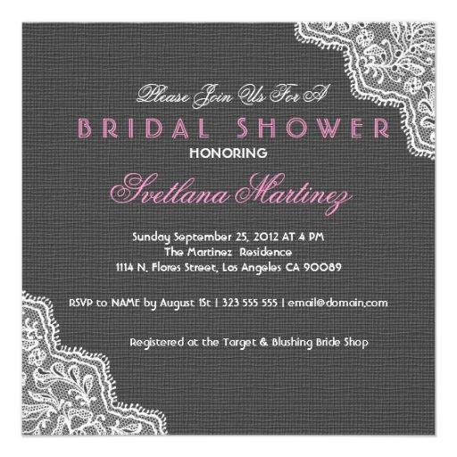 Black Linen & White Lace Bridal Shower Invite Custom Announcement