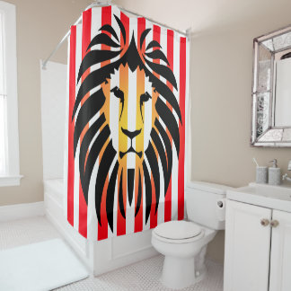 Black Lion Silhouette Sunset and Stripes Shower Curtain