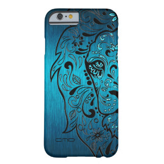 Black Lion Sugar Skull Metallic Blue Background Barely There iPhone 6 Case