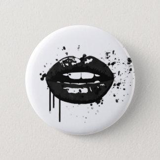 Black lips stylish fashion kiss makeup artist 6 cm round badge