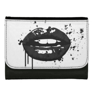 Black lips stylish fashion kiss makeup artist leather wallet for women