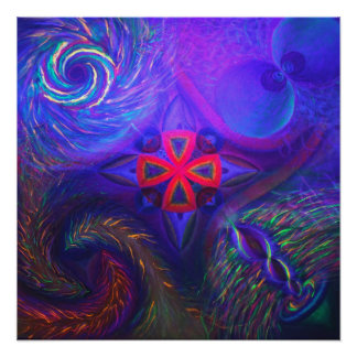 Black lit Cosmic dance with the sacred chapel Poster